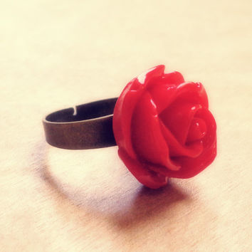 Handmade Floral Rose Adjustable Ring