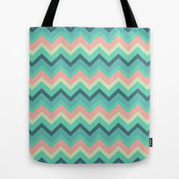 Vintage Turquoise Pastel Tiffany Chevron Pattern Tote Bag by RexLambo