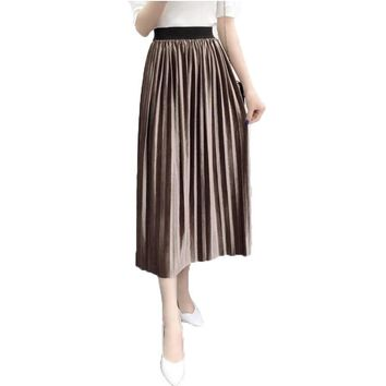 Fashion Women Skirts 2017 New Korean Style In The Long Section of Solid Color Velvet Vintage High Waist Accordion Pleated Skirt