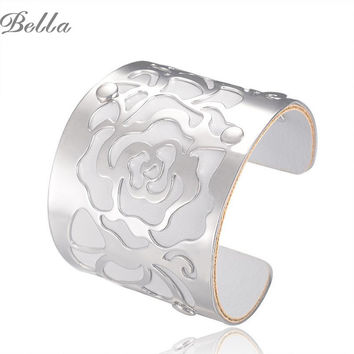 18K Gold plated Cuff  Bracelets H Love The Rose Flowers Bangles For Women Femme Jewelry Wide leather Bracelet Bangles S0001