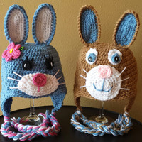 Girl Bunny Boy Bunny Rabbit Easter Spring Ear Flap Hat