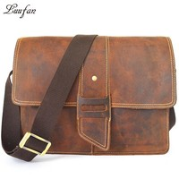 Vintage crazy horse leather shoulder bag men's leather messenger bag genuine leather school bag for book ipad