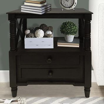 2 Drawer Wooden Side Accent Table with Spindle Design Legs, Cherry Brown By The Urban Port
