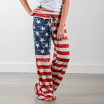 Womens American Flag Printed Summer Pants