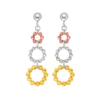 Silver with Rhodium+Yellow+Rose Finish Shiny Diamond Cut 3 Graduated Tri-Color Beade D Circle Drop Earring