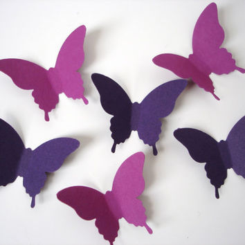 25 Mixed Purple Elegant Butterfly die cut embellishments - No891
