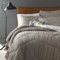 Cora Rouched Quilt + Shams - Platinum