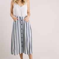 Connie Navy Striped Midi Skirt