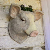 Faux Taxidermy, Faux Animal Heads, Faux Pig Head, Pig Home Decor, Pig Wall Decor, Kitchen Wall Decor, French Country Decor, Farmhouse Decor