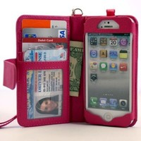 Navor iPhone Life Protective Deluxe Book Style Folio Wallet Leather Case with Removable Strap for iPhone 5 Multifunctional - Hot Pink:Amazon:Cell Phones & Accessories