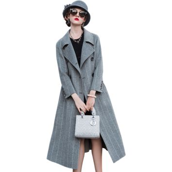 Wool coat womens coats winter new winter long coat womens winter clothing Double-sided plaid coat