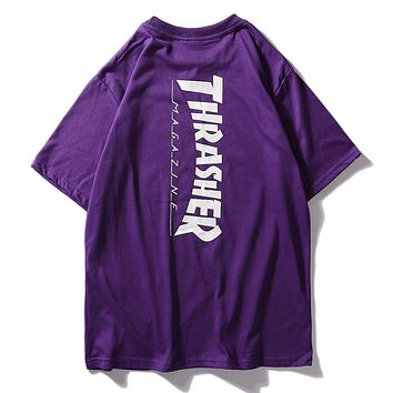 Thrasher Keith Haring New fashion letter print couple top t-shirt Purple