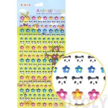 Panda Bear Face and Colorful Flower Shaped Animal Themed Puffy Stickers for Kids