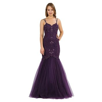 Embroidered-Lace Mermaid Long Prom Dress Plum