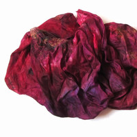 Silk scarf ruffled Hand Dyed Raspberry Bright-red Purple Vinous Green New design