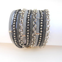 2 Shades of Grey Suede cord, A Black Cotton Cord Macrame and A Pea Nickel Chain - 3X Wrap Bracelet