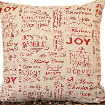 Black Friday Sale Christmas Pillow Cover Cushion Merry Joy Peace Love Goodwill Holiday Cheer Script Red Sand Beige Decorative Repurposed 18x