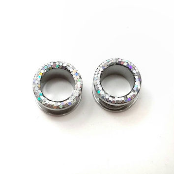 Silver iridescent plugs / 8g, 6g, 4g, 2g, 0g, 00g, 7/16, 1/2, 9/16, 5/8, 11/16, 3/4 & 1 inch / sparkle tunnel plugs / wedding tunnel gauges