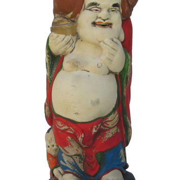 Hand Carved Camphor Wood Standing Happy Buddha Statue jz120S