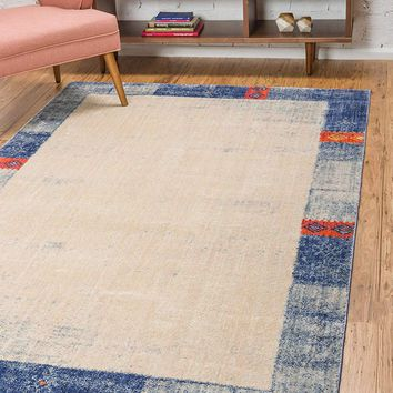 0151 Blue Border Modern Geometric Contemporary Area Rugs