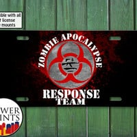 Zombie Apocalypse Response Team Funny Outbreak Cool Creepy Undead For Front License Plate Car Tag One Size Fits All Vehicle Custom