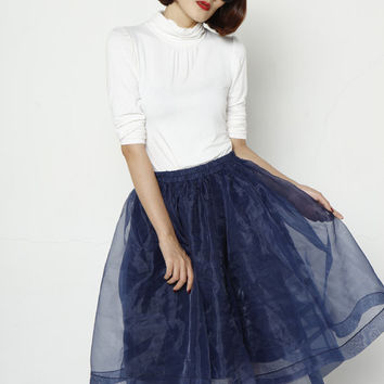 Navy Blue Tulle Skirt Organza Woollen Skirt Knee length Tutu Skirt Elastic Waist tulle tutu Princess Skirt Wedding Skirt - NC635