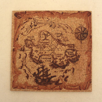 Neverland Pirates Map Cork Coaster Set of 4
