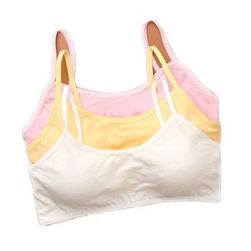 Young Teenage Girl Cotton Sport Training Bra Underwear 8-18y Solid Soft Lingerie for Gilrs Puberty Top Bra Envio Gratis