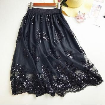 2018 Skirts New Women Girls Middle Long Calf Elastic Force Black Khaki Sequins Lace Sexy Splicing High Waist Cultivation Downloa
