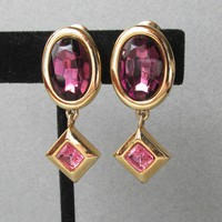 MONET Purple & Pink Rhinestone Dangle Gold Tone Vintage Earrings