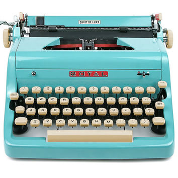 1957 Turquoise Royal Quiet De Luxe Typewriter, Professionally Serviced, Blue Typewriter, Royal Typewriter, Working Typewriter, Typewriter