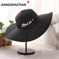 summer Fashion flat brim straw hat pearl beading fedoras women's sun-shading sunscreen jazz Panama hat outdoor beach hat