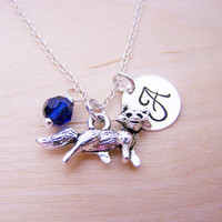 Fox Charm Necklace -  Swarovski Birthstone Initial Personalized Sterling Silver Necklace / Gift for Her - Fox Charm