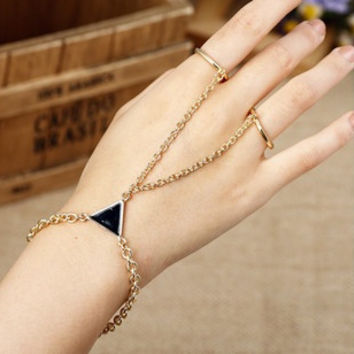 girls punk slave hand chain triangular elements with finger ring rock Golden Triangle metal (Color: Golden) = 1669426116