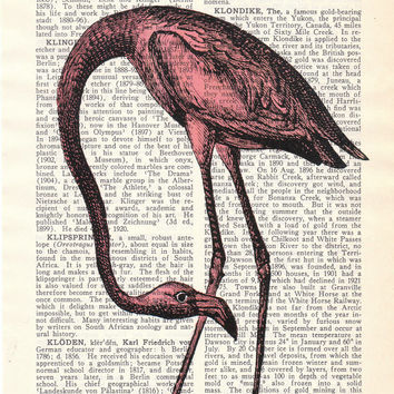 Dictionary page book art print Flamingo Bird Print on Vintage Book altered art  page illustration book print - Buy 3 Get 1 Freeart art