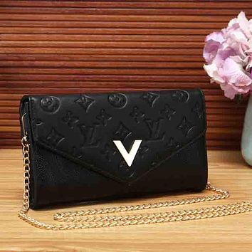 LV Louis Vuitton Women New Fashion Monogram Leather Chain Crossbody Bag Shoulder Bag Black
