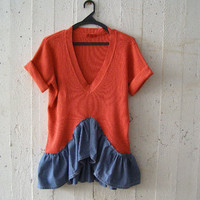 Upcycled Rustic Knit Pullover, Orange Denim Altered Short Sleeve Ruffled Layering Sweater, Romantic Eco Clothes Altered Clothing Fall Winter