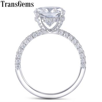 Transgems 14K White Gold 4.5CT 10MM Cushion Cut Moissanite Under Halo Engagement Ring for Women Wedding with Half Eternity Band