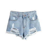European American Summer Wind Female Blue High Waist Denim Shorts Women Worn Loose Burr Hole Shorts