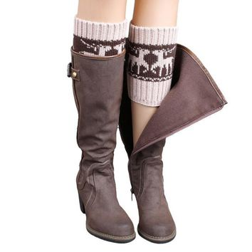 Winter Knitted Color Matching Christmas Wapiti Leg Warmers Socks Boot Cover