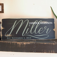 Personalize Family Established Wood Sign with Rustic Distressed Edges