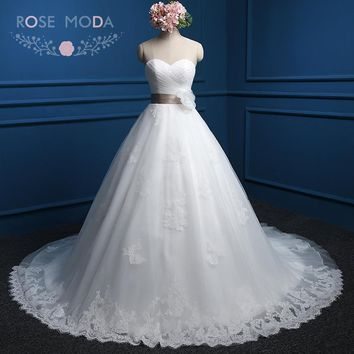 Rose Moda Lace Ball Gown with Colorful Sash Chantilly Lace Wedding Dress Plus Size Lace Up Back Real Photos