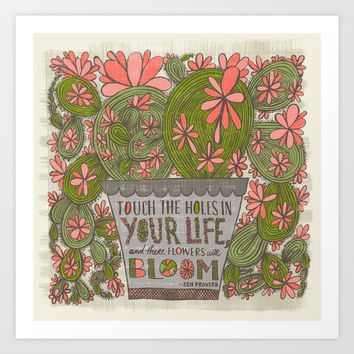 Touch the Holes in Your Life...(Grow Free Series) Art Print by Jen Montgomery