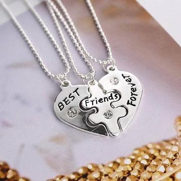 5 Sets Women's Best Friends Forever Split Heart Friendship Necklace Set Jewelry