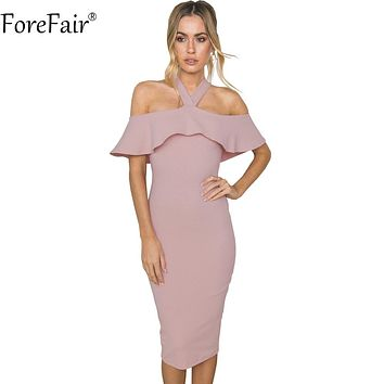 ForeFair Spring Autumn Halter Cloak Sleeve Ruffles Elegant Party Dresses Women High Street Sexy Backless Long Bodycon Dress
