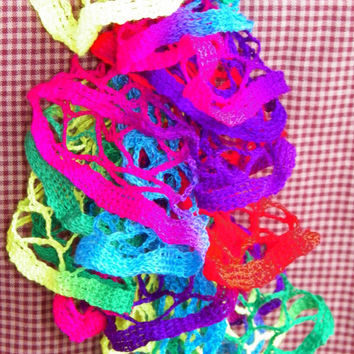 Free Shipping in the U.S.A - Toucan - Crochet Ruffle Scarf - Starbella Ruffle Scarf - Bright Colorful Scarf - Multi-Colorful Yarn Sale