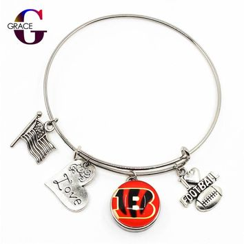 Cincinnati Bengals Sports Charms Adjustable I Love Football Expandable Women Bangle Bracelets With Ginger Snap Buttons Jewelry