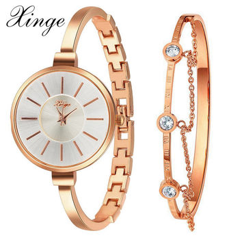 Xinge Brand Rose Gold Set Women Watches Famous Luxury Diamond Dress Woman Clock Female Quartz Ladies Wristwatch XG609