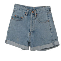 Nineties Pepe Shorts: 90s -Pepe- Womens light blue cotton denim shorts with button fly closure, five pockets and pre-cuffed hems.