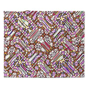 "Dawid Roc ""Camouflage Pattern 3 "" Pink Yellow Fleece Throw Blanket"